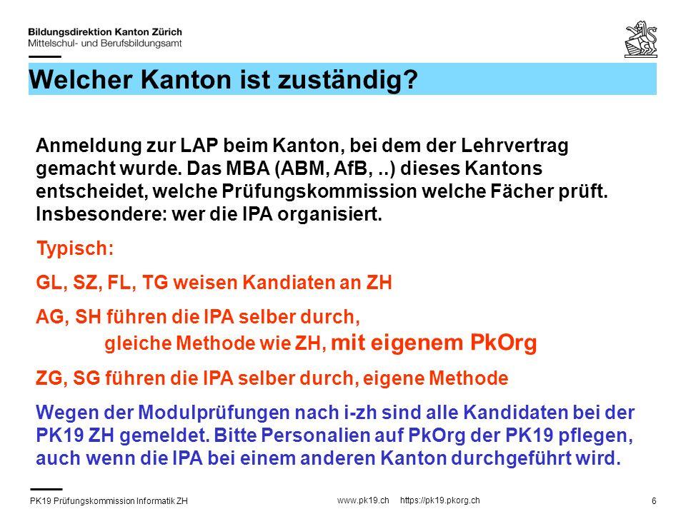 PK19 Prüfungskommission Informatik ZH www.pk19.ch https://pk19.pkorg.ch 17 Facharbeit: Anforderungen Qualität: fachlich korrekt Quantität: hohe Produktivität, da Handwerk geübt