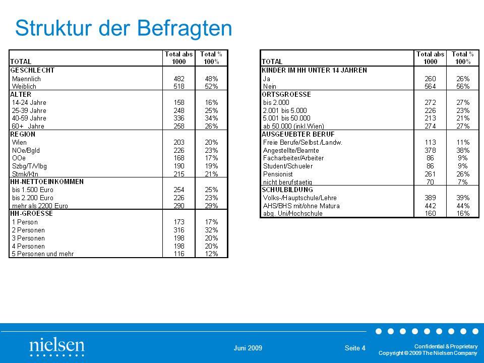 Juni 2009 Confidential & Proprietary Copyright © 2009 The Nielsen Company Seite 4 Struktur der Befragten