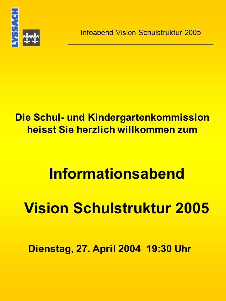 Informationsabend Vision Schulstruktur 2005 Infoabend Vision Schulstruktur 2005 Die Schul- und Kindergartenkommission heisst Sie herzlich willkommen zum Dienstag, 27.