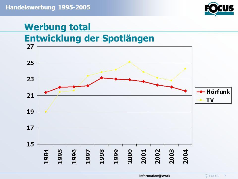 information @ work Handelswerbung 1995-2005 © FOCUS 48 Werbewirkung - Handelswerbung in Printmedien - Bekanntheit Basis: Werbe Bekanntheit in % der Befragten 1997-2006, n=6800 In %