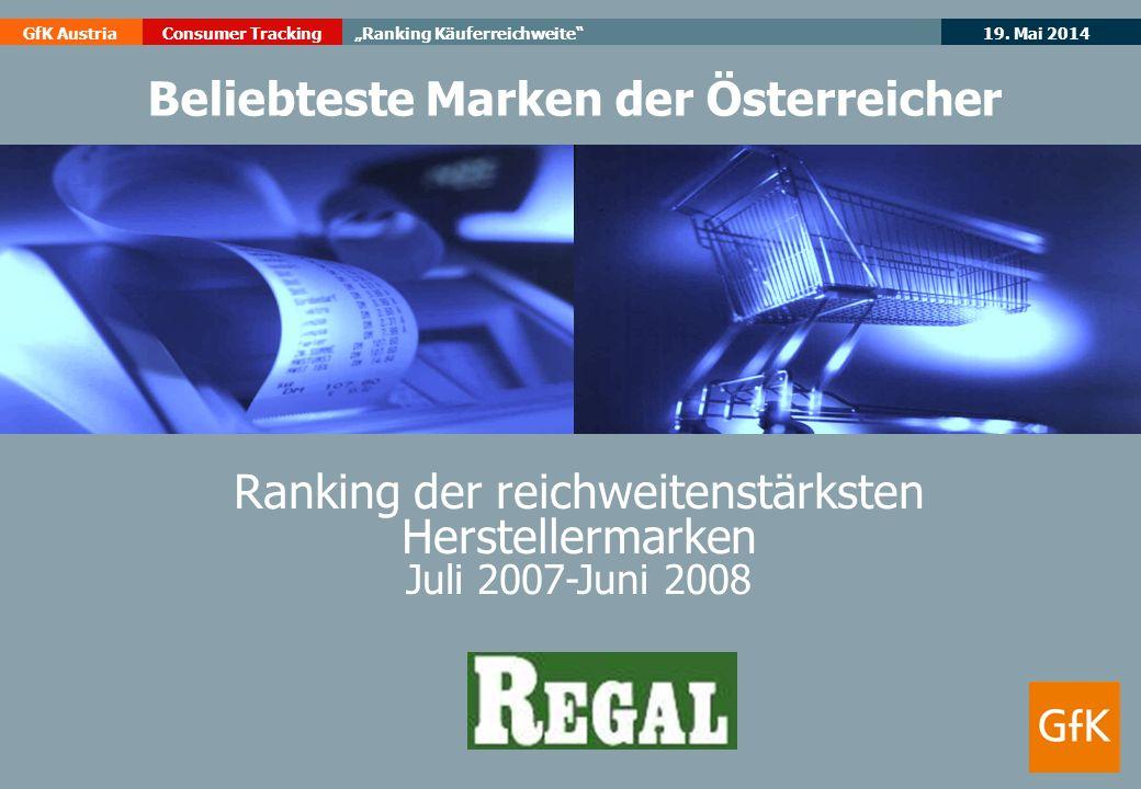 19. Mai 2014GfK AustriaConsumer TrackingRanking Käuferreichweite Ranking der reichweitenstärksten Herstellermarken Juli 2007-Juni 2008 Beliebteste Mar