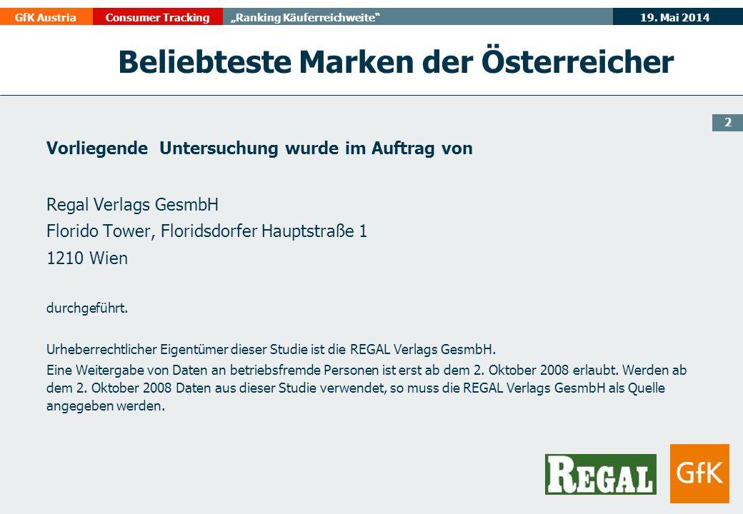 19. Mai 2014GfK AustriaConsumer TrackingRanking Käuferreichweite Beliebteste Marken der Österreicher Vorliegende Untersuchung wurde im Auftrag von Reg