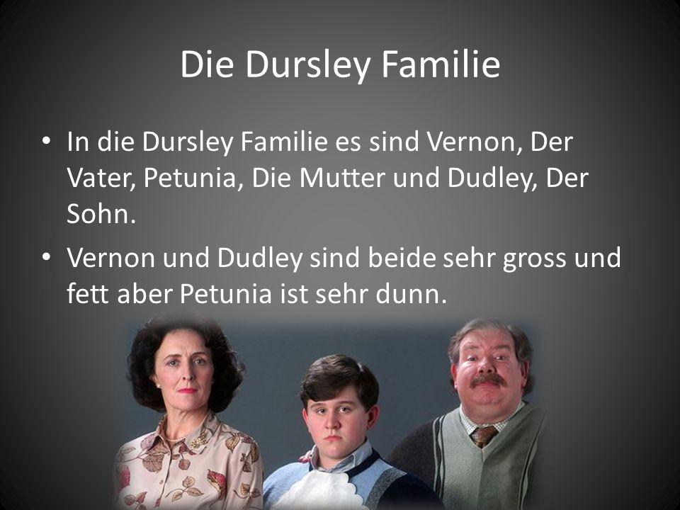 Die Dursley Familie In die Dursley Familie es sind Vernon, Der Vater, Petunia, Die Mutter und Dudley, Der Sohn. Vernon und Dudley sind beide sehr gros