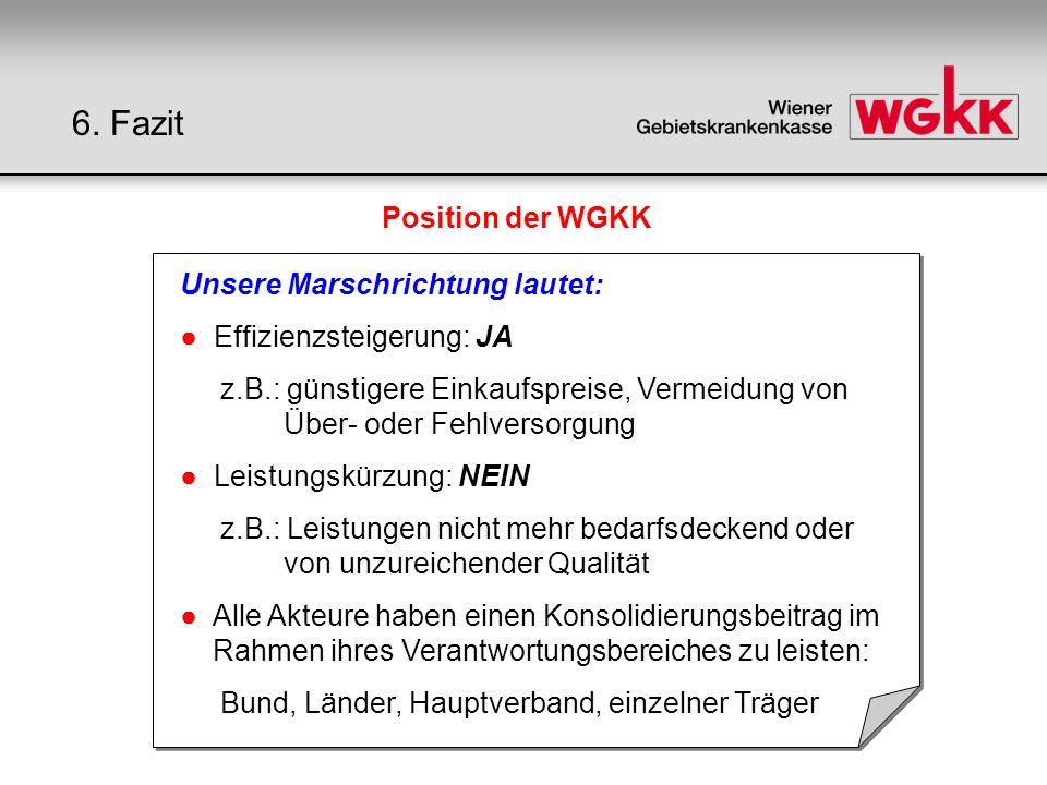 Position der WGKK Unsere Marschrichtung lautet: Effizienzsteigerung: JA z.B.: günstigere Einkaufspreise, Vermeidung von Über- oder Fehlversorgung Leis