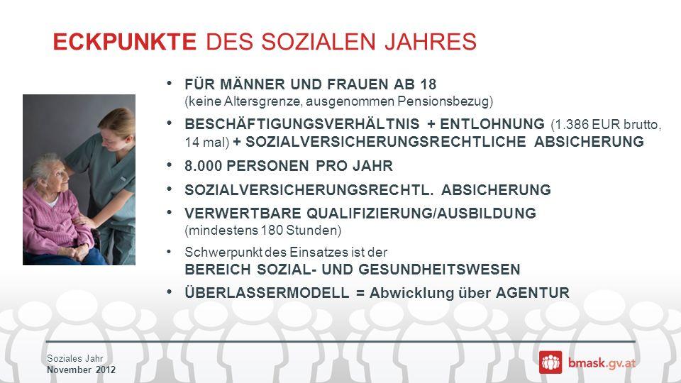 Soziales Jahr November 2012 ECKPUNKTE DES SOZIALEN JAHRES FÜR MÄNNER UND FRAUEN AB 18 (keine Altersgrenze, ausgenommen Pensionsbezug) BESCHÄFTIGUNGSVERHÄLTNIS + ENTLOHNUNG (1.386 EUR brutto, 14 mal) + SOZIALVERSICHERUNGSRECHTLICHE ABSICHERUNG 8.000 PERSONEN PRO JAHR SOZIALVERSICHERUNGSRECHTL.