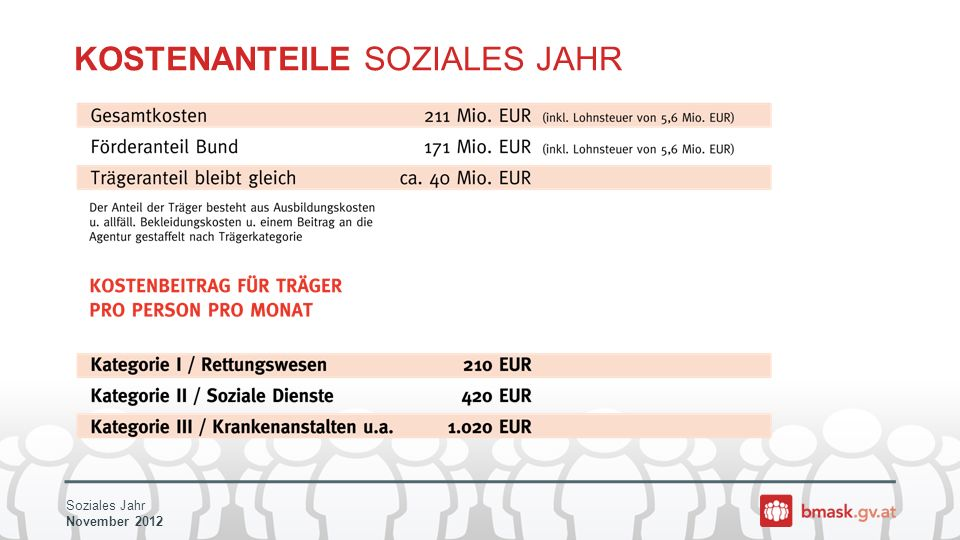 Soziales Jahr November 2012 KOSTENANTEILE SOZIALES JAHR