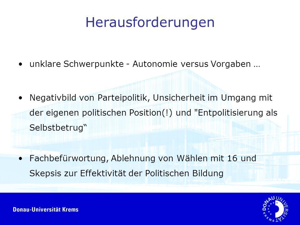 Herausforderungen unklare Schwerpunkte - Autonomie versus Vorgaben … Negativbild von Parteipolitik, Unsicherheit im Umgang mit der eigenen politischen Position(!) und Entpolitisierung als Selbstbetrug Fachbefürwortung, Ablehnung von Wählen mit 16 und Skepsis zur Effektivität der Politischen Bildung