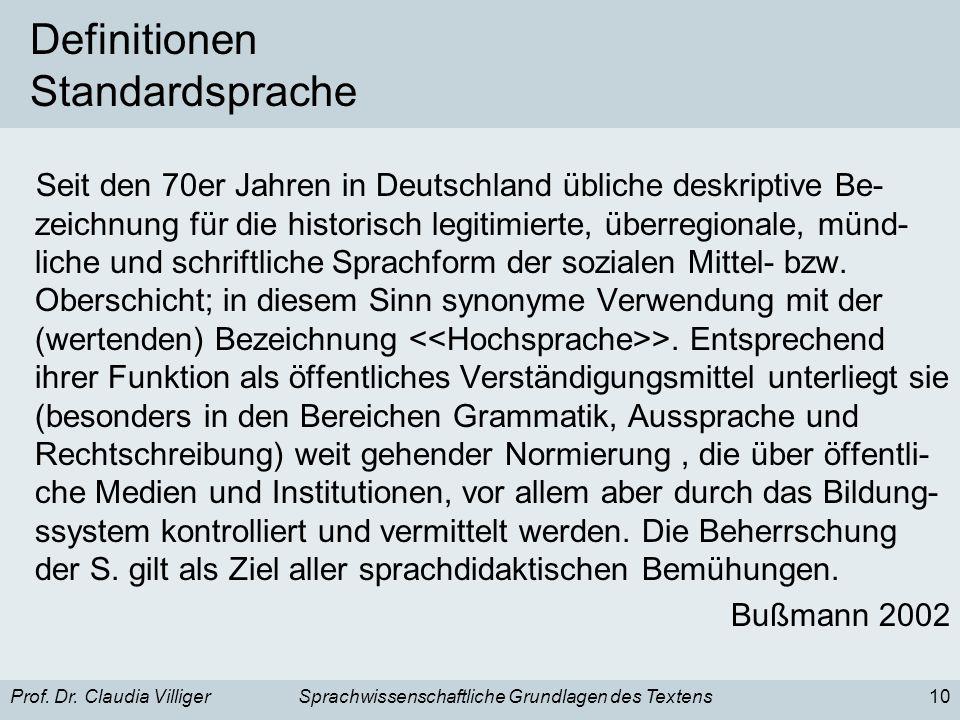 Prof. Dr. Claudia VilligerSprachwissenschaftliche Grundlagen des Textens10 Definitionen Standardsprache Seit den 70er Jahren in Deutschland übliche de