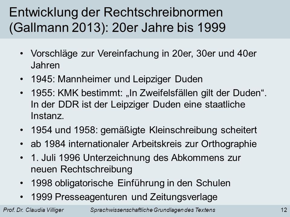 Prof. Dr. Claudia VilligerSprachwissenschaftliche Grundlagen des Textens12 Entwicklung der Rechtschreibnormen (Gallmann 2013): 20er Jahre bis 1999 Vor