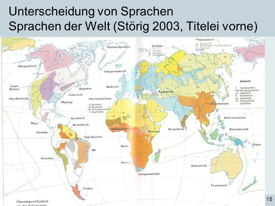 Prof. Dr. Claudia VilligerSprachwissenschaftliche Grundlagen des Textens15 Unterscheidung von Sprachen Sprachen der Welt (Störig 2003, Titelei vorne)