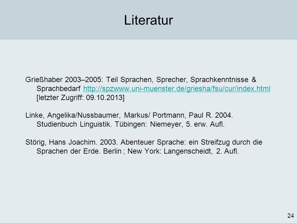 24 Literatur Grießhaber 2003–2005: Teil Sprachen, Sprecher, Sprachkenntnisse & Sprachbedarf http://spzwww.uni-muenster.de/griesha/fsu/cur/index.html [