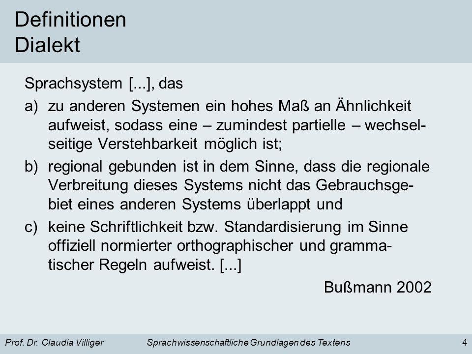 Prof. Dr. Claudia VilligerSprachwissenschaftliche Grundlagen des Textens4 Definitionen Dialekt Sprachsystem [...], das a)zu anderen Systemen ein hohes