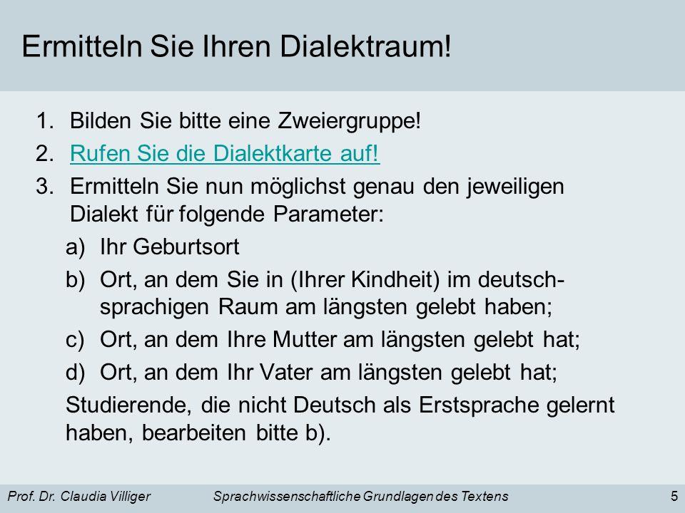 Prof. Dr. Claudia VilligerSprachwissenschaftliche Grundlagen des Textens5 Ermitteln Sie Ihren Dialektraum! 1.Bilden Sie bitte eine Zweiergruppe! 2.Ruf