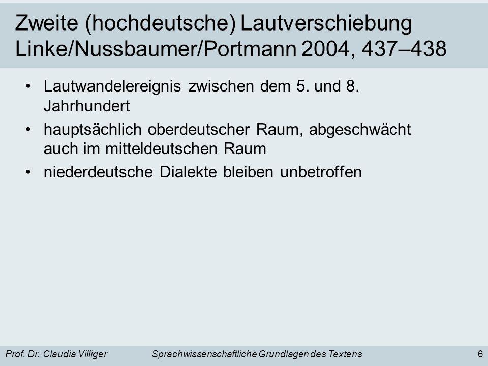 Prof. Dr. Claudia VilligerSprachwissenschaftliche Grundlagen des Textens6 Zweite (hochdeutsche) Lautverschiebung Linke/Nussbaumer/Portmann 2004, 437–4
