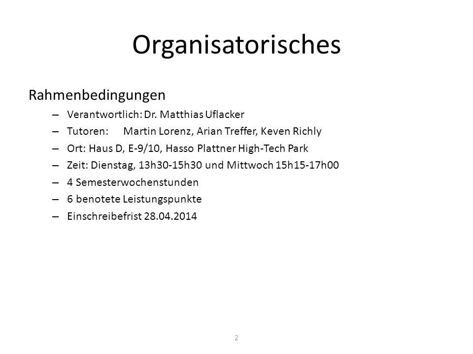 Organisatorisches Rahmenbedingungen – Verantwortlich: Dr.