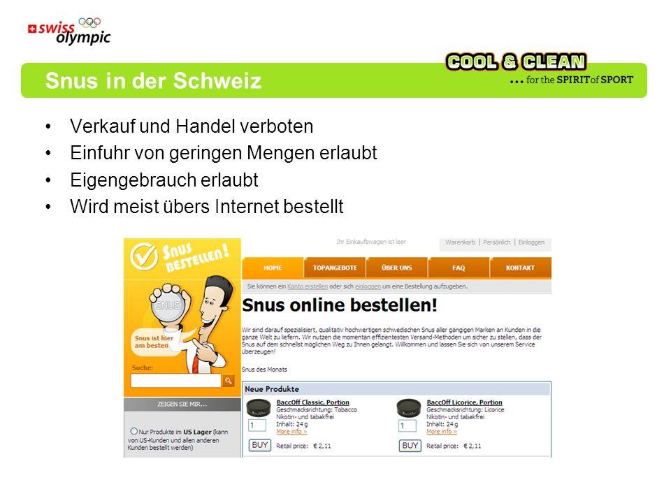 Verkauf und Handel verboten Einfuhr von geringen Mengen erlaubt Eigengebrauch erlaubt Wird meist übers Internet bestellt Snus in der Schweiz