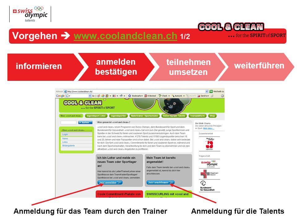 anmelden bestätigen informieren Vorgehen www.coolandclean.ch 1/2www.coolandclean.ch teilnehmen umsetzen weiterführen Anmeldung für die TalentsAnmeldung für das Team durch den Trainer