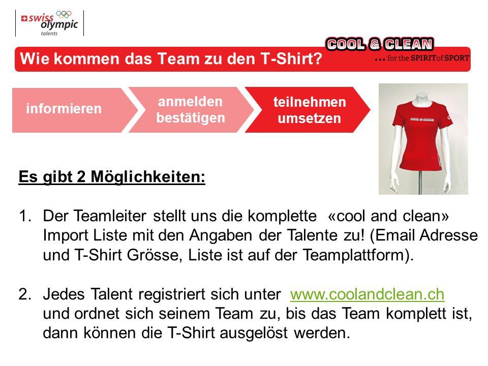 anmelden bestätigen teilnehmen umsetzen weiterführen informieren Wie kommen das Team zu den T-Shirt.