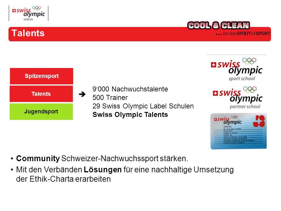 Talents 9000 Nachwuchstalente 500 Trainer 29 Swiss Olympic Label Schulen Swiss Olympic Talents Community Schweizer-Nachwuchssport stärken.