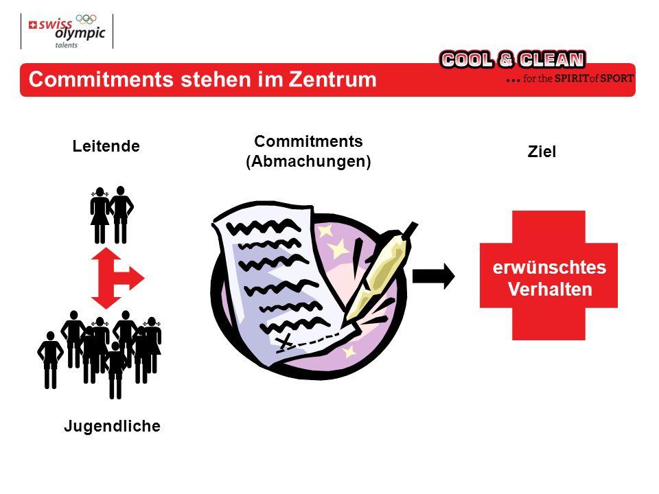 erwünschtes Verhalten Commitments (Abmachungen) Leitende Ziel Jugendliche Commitments stehen im Zentrum