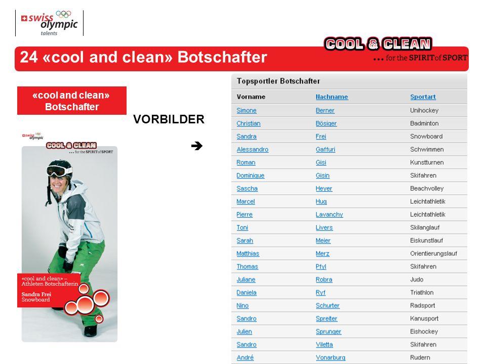 24 «cool and clean» Botschafter «cool and clean» Botschafter VORBILDER