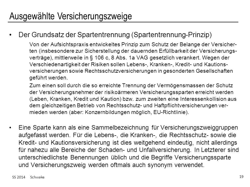 SS 2014 Schwake 19 Ausgewählte Versicherungszweige Der Grundsatz der Spartentrennung (Spartentrennung-Prinzip) Von der Aufsichtspraxis entwickeltes Pr