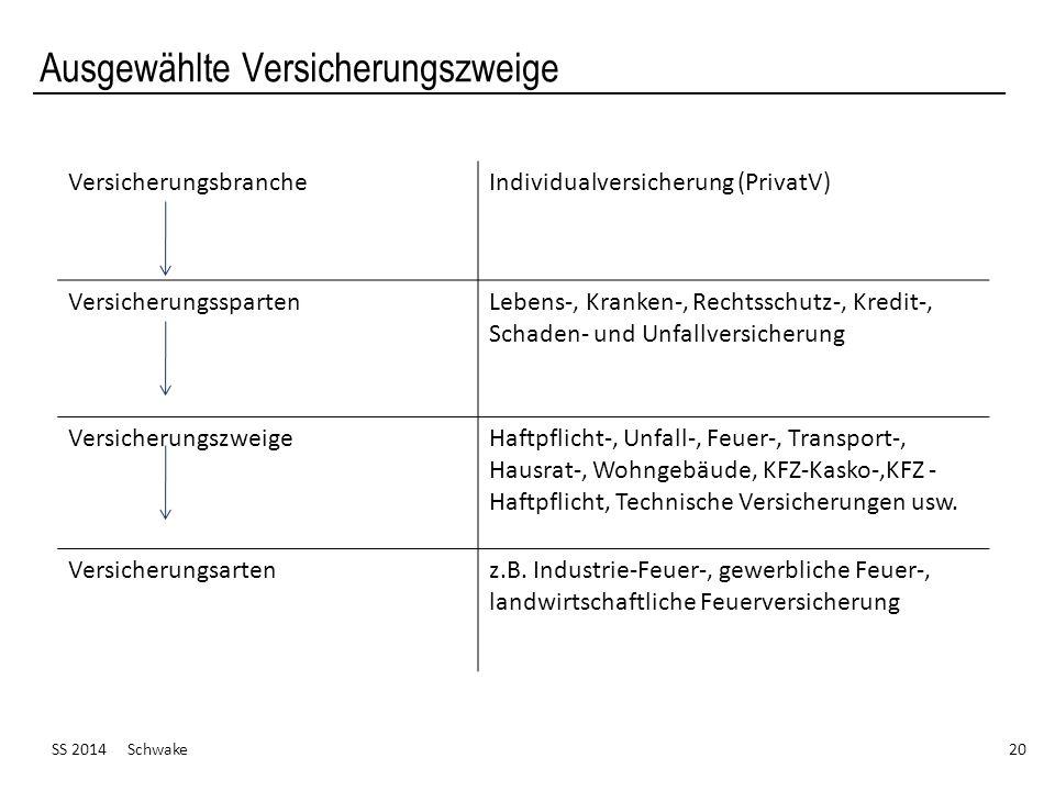 Ausgewählte Versicherungszweige SS 2014 Schwake 20 VersicherungsbrancheIndividualversicherung (PrivatV) VersicherungsspartenLebens-, Kranken-, Rechtss