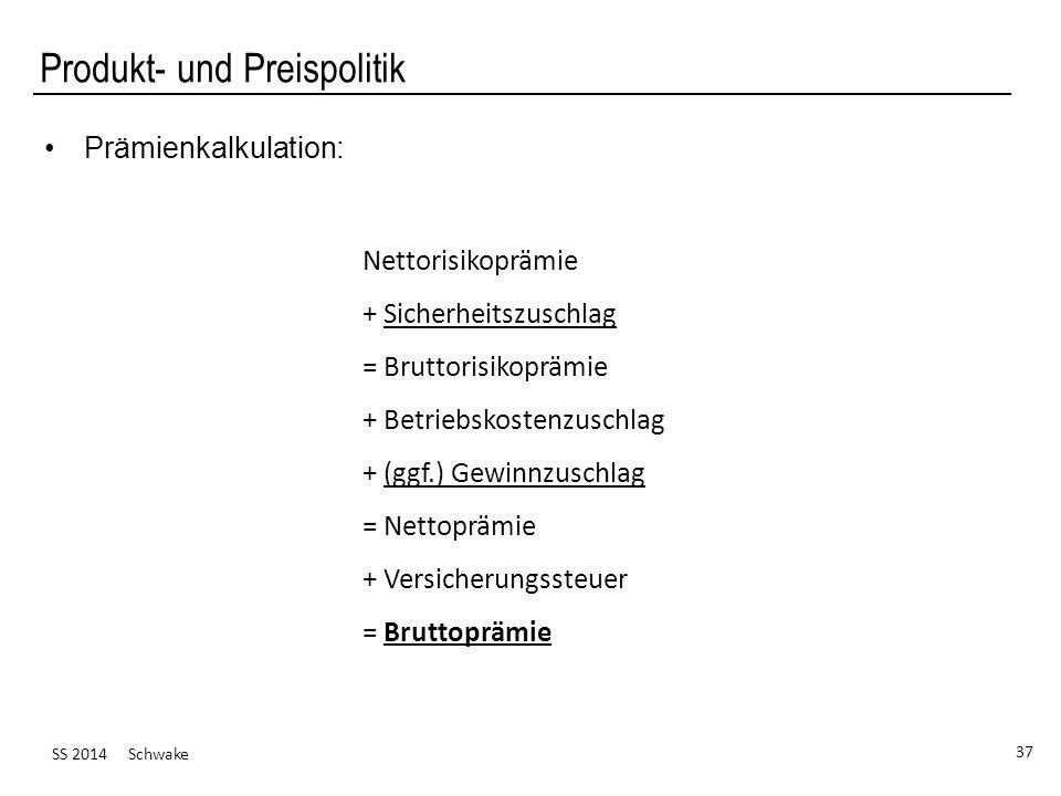 SS 2014 Schwake 37 Produkt- und Preispolitik Prämienkalkulation: Nettorisikoprämie + Sicherheitszuschlag = Bruttorisikoprämie + Betriebskostenzuschlag + (ggf.) Gewinnzuschlag = Nettoprämie + Versicherungssteuer = Bruttoprämie