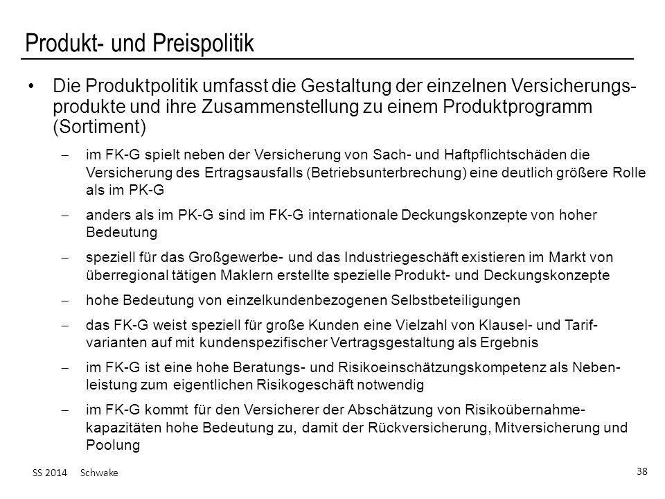 SS 2014 Schwake 38 Produkt- und Preispolitik Die Produktpolitik umfasst die Gestaltung der einzelnen Versicherungs- produkte und ihre Zusammenstellung