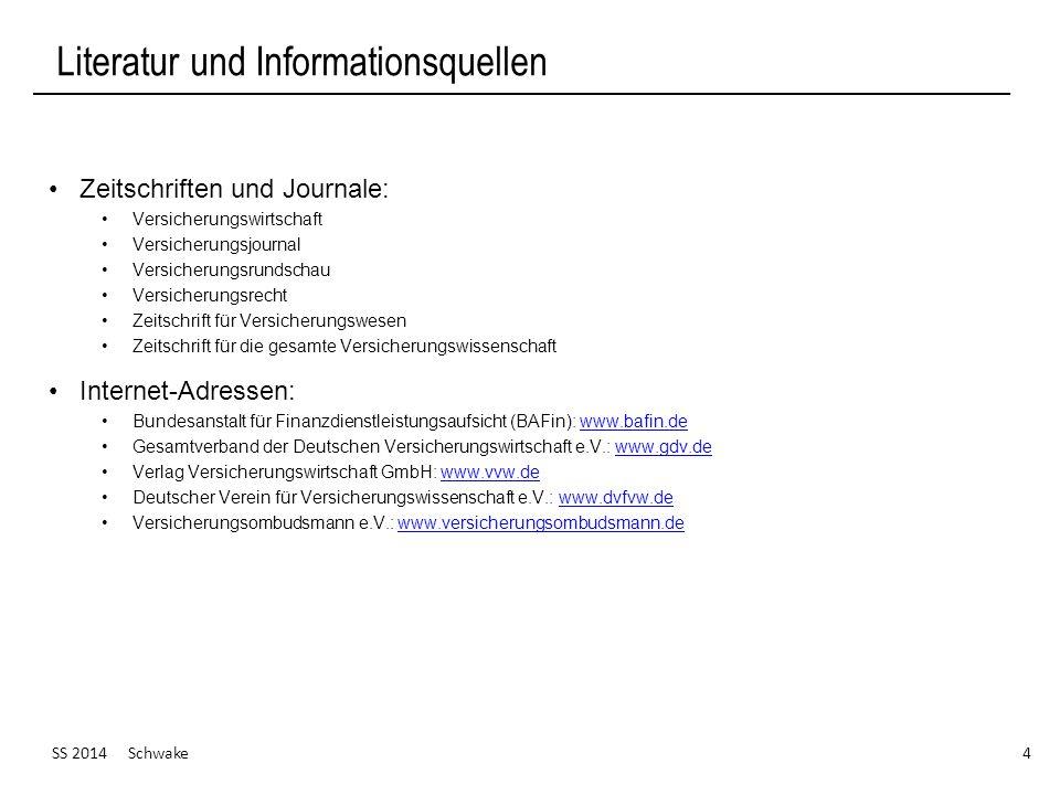 SS 2014 Schwake 25 Ausgewählte Versicherungszweige Bildung von Versicherungszweigen (I) (Quelle: Farny, Versicherungsbetriebslehre, S.