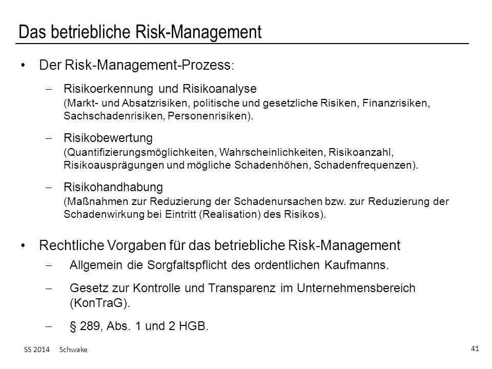 SS 2014 Schwake 41 Das betriebliche Risk-Management Der Risk-Management-Prozess : Risikoerkennung und Risikoanalyse (Markt- und Absatzrisiken, politische und gesetzliche Risiken, Finanzrisiken, Sachschadenrisiken, Personenrisiken).