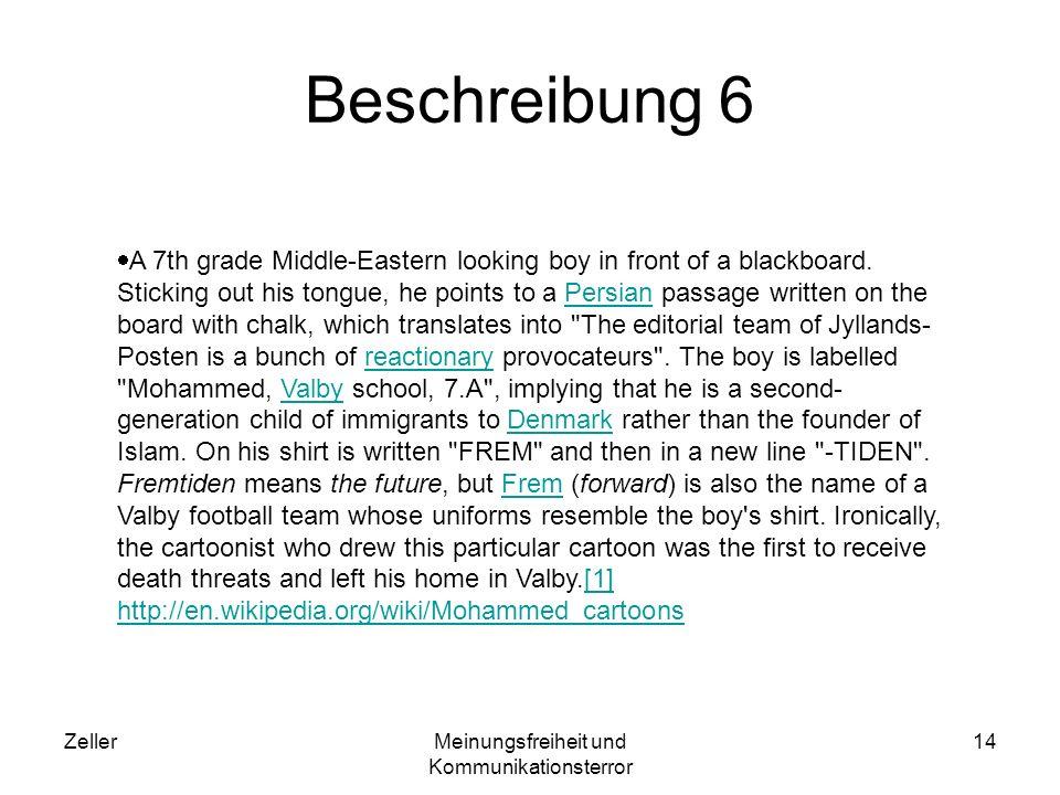 ZellerMeinungsfreiheit und Kommunikationsterror 14 Beschreibung 6 A 7th grade Middle-Eastern looking boy in front of a blackboard. Sticking out his to