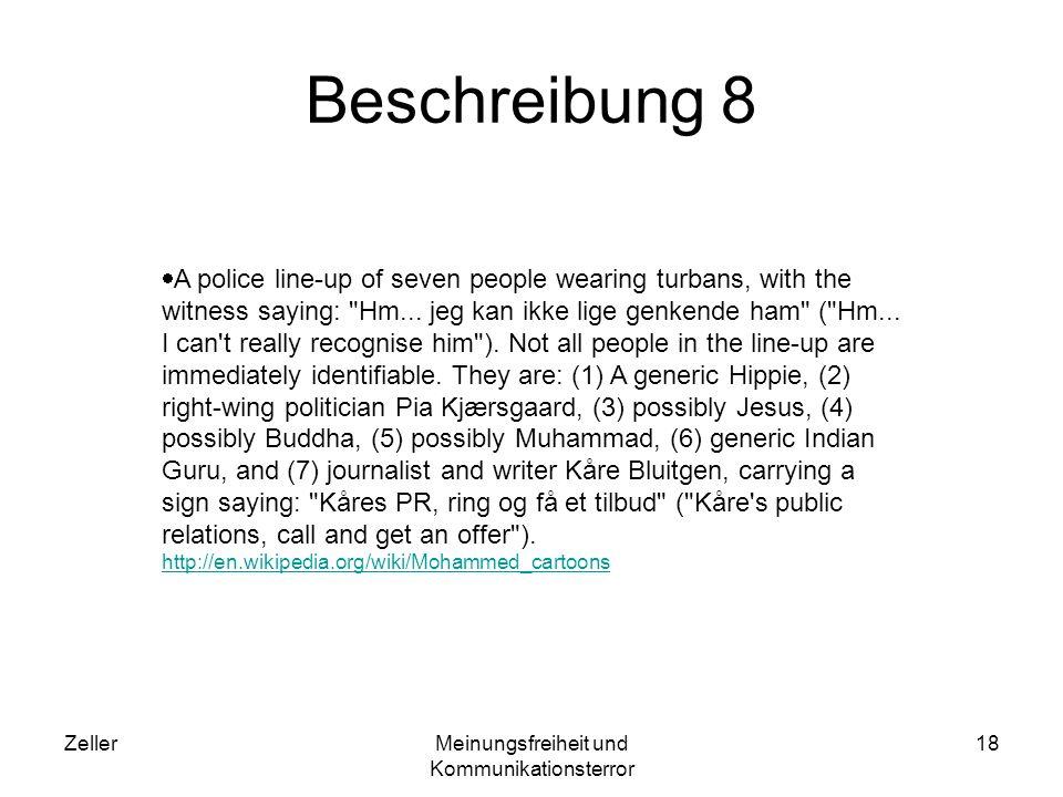 ZellerMeinungsfreiheit und Kommunikationsterror 18 Beschreibung 8 A police line-up of seven people wearing turbans, with the witness saying: