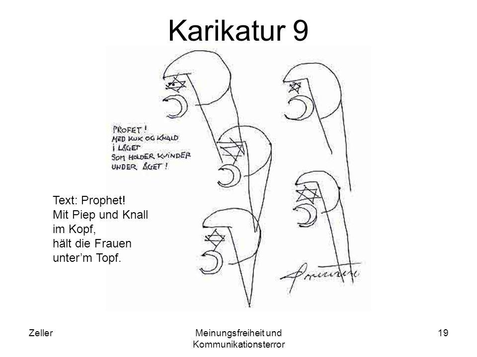 ZellerMeinungsfreiheit und Kommunikationsterror 19 Karikatur 9 Text: Prophet! Mit Piep und Knall im Kopf, hält die Frauen unterm Topf.