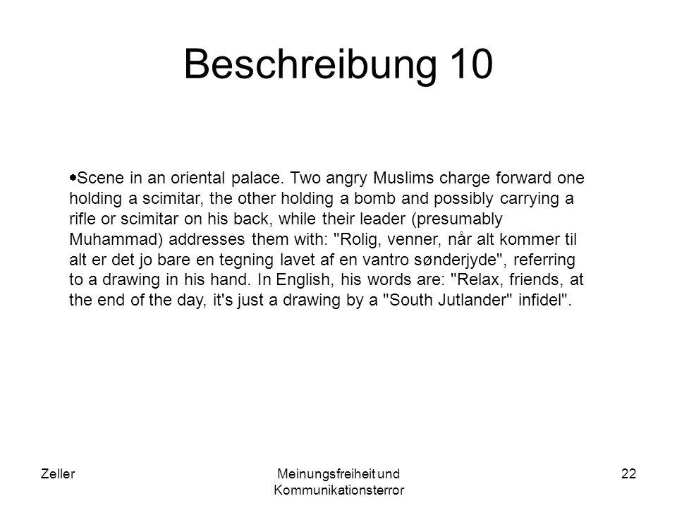 ZellerMeinungsfreiheit und Kommunikationsterror 22 Beschreibung 10 Scene in an oriental palace. Two angry Muslims charge forward one holding a scimita