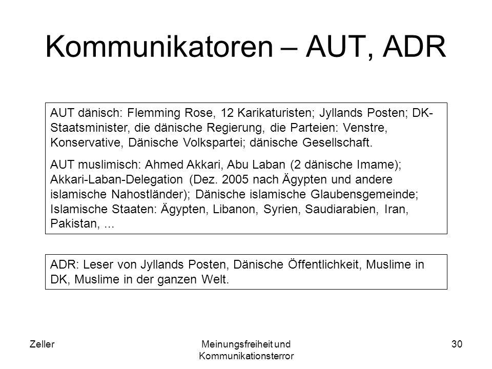 ZellerMeinungsfreiheit und Kommunikationsterror 30 Kommunikatoren – AUT, ADR AUT dänisch: Flemming Rose, 12 Karikaturisten; Jyllands Posten; DK- Staat