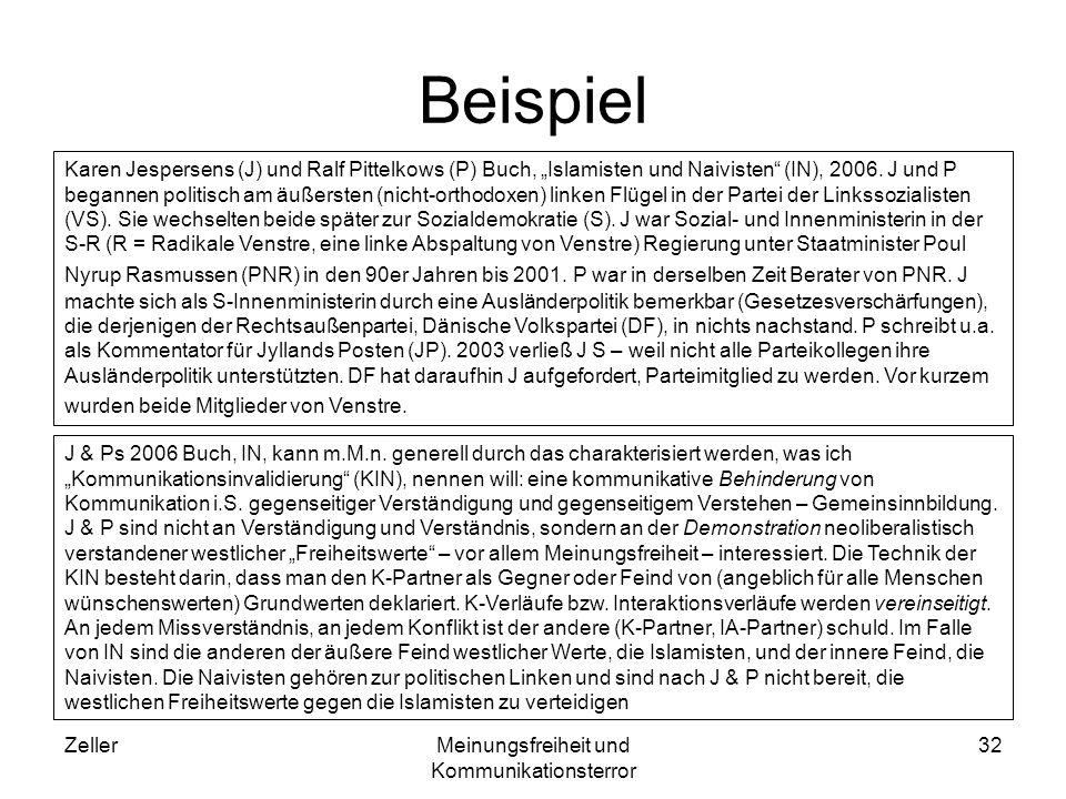ZellerMeinungsfreiheit und Kommunikationsterror 32 Beispiel Karen Jespersens (J) und Ralf Pittelkows (P) Buch, Islamisten und Naivisten (IN), 2006. J