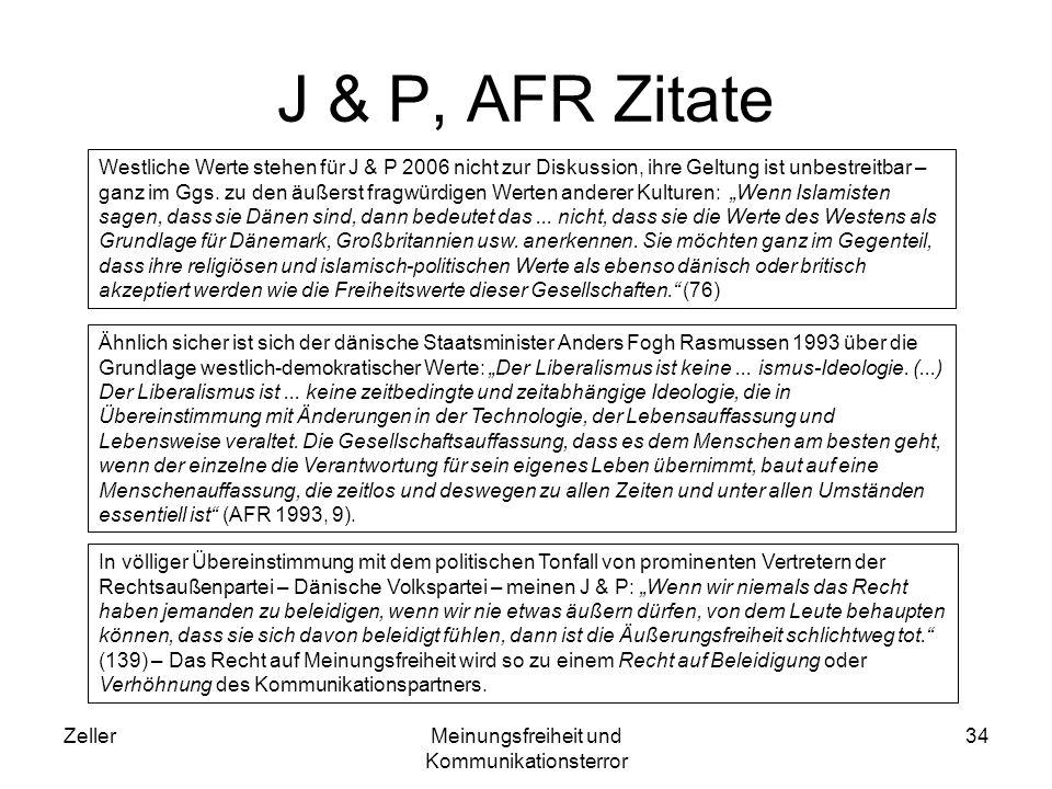 ZellerMeinungsfreiheit und Kommunikationsterror 34 J & P, AFR Zitate Westliche Werte stehen für J & P 2006 nicht zur Diskussion, ihre Geltung ist unbestreitbar – ganz im Ggs.