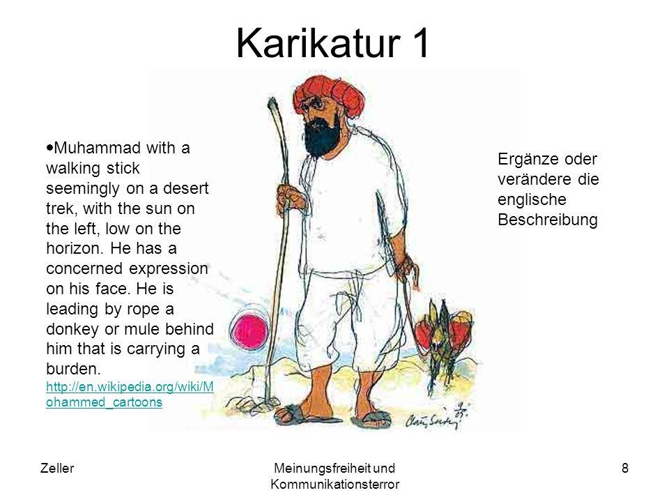 ZellerMeinungsfreiheit und Kommunikationsterror 8 Karikatur 1 Muhammad with a walking stick seemingly on a desert trek, with the sun on the left, low on the horizon.