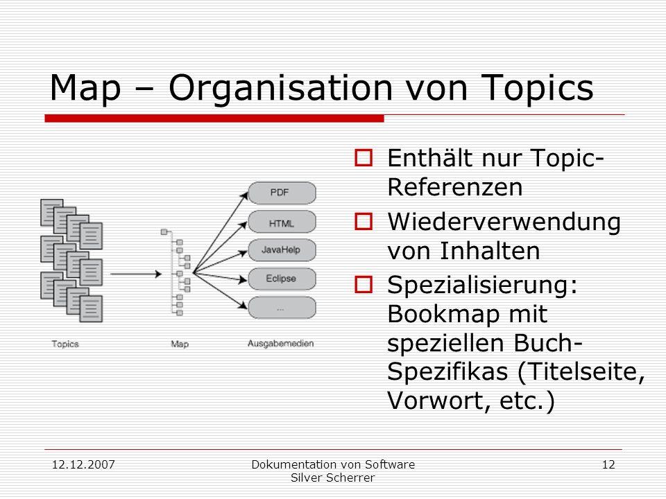 12.12.2007Dokumentation von Software Silver Scherrer 12 Map – Organisation von Topics Enthält nur Topic- Referenzen Wiederverwendung von Inhalten Spezialisierung: Bookmap mit speziellen Buch- Spezifikas (Titelseite, Vorwort, etc.)