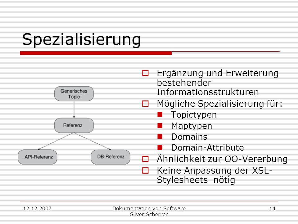 12.12.2007Dokumentation von Software Silver Scherrer 14 Spezialisierung Ergänzung und Erweiterung bestehender Informationsstrukturen Mögliche Spezialisierung für: Topictypen Maptypen Domains Domain-Attribute Ähnlichkeit zur OO-Vererbung Keine Anpassung der XSL- Stylesheets nötig