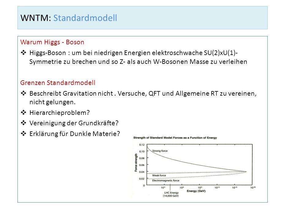 WNTM: Standardmodell Warum Higgs - Boson Higgs-Boson : um bei niedrigen Energien elektroschwache SU(2)xU(1)- Symmetrie zu brechen und so Z- als auch W