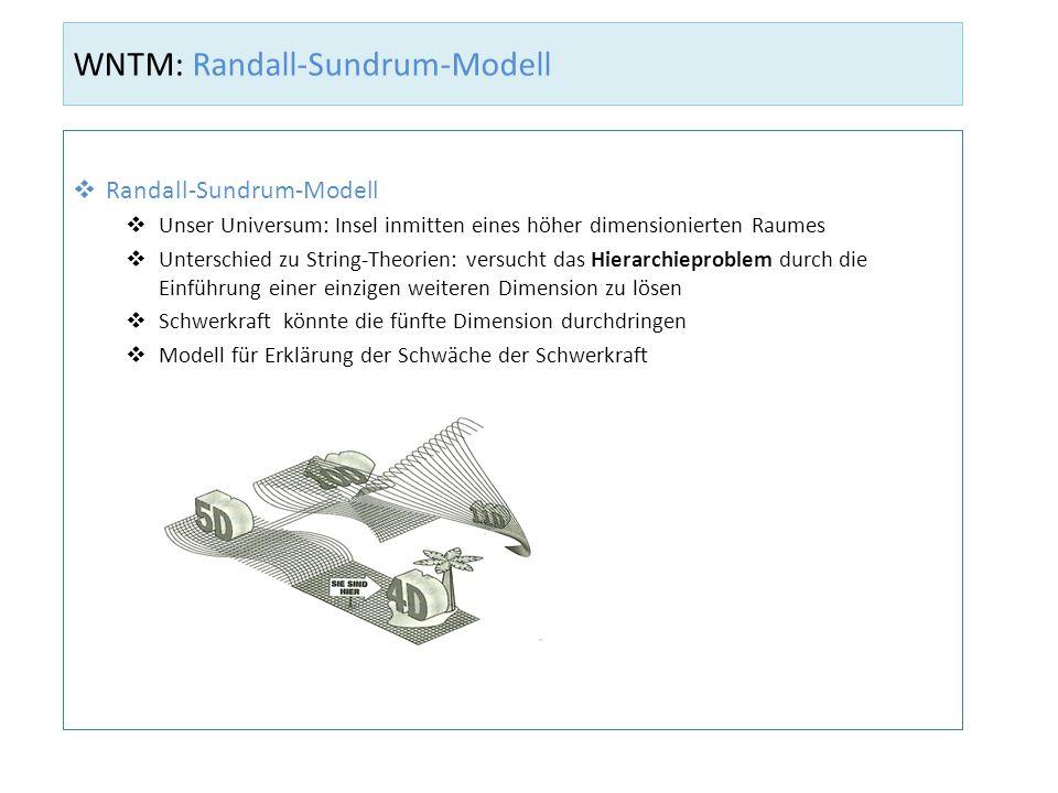 WNTM: Randall-Sundrum-Modell Randall-Sundrum-Modell Unser Universum: Insel inmitten eines höher dimensionierten Raumes Unterschied zu String-Theorien: