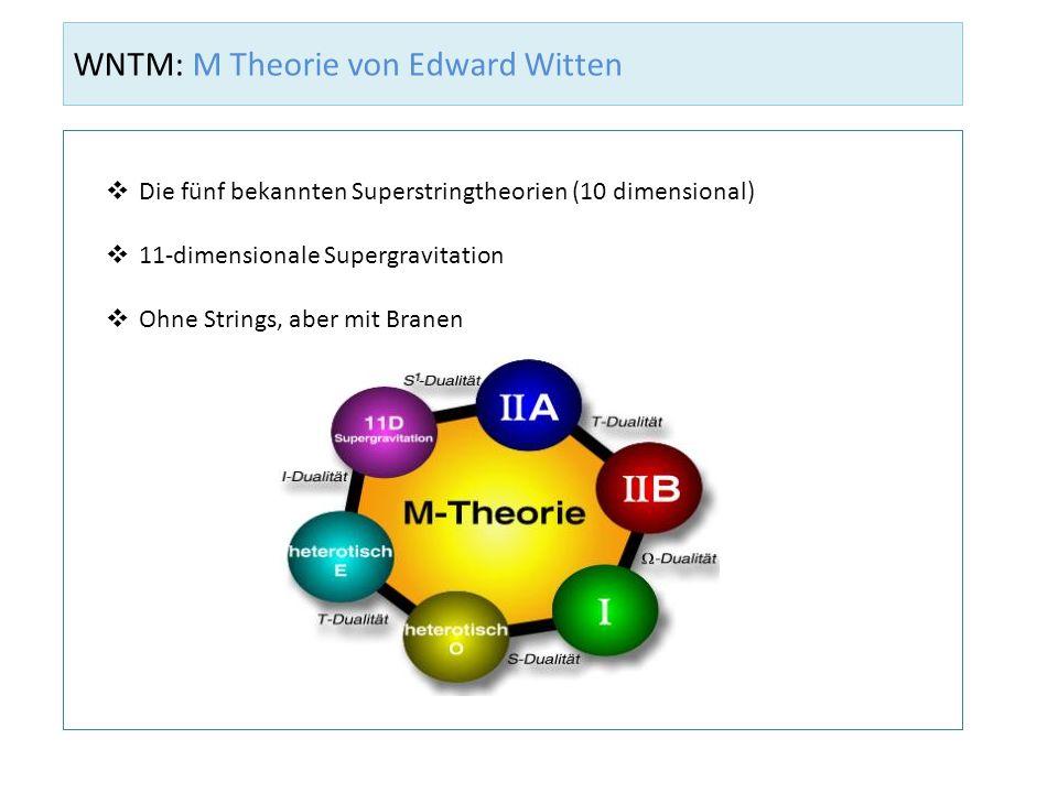 WNTM: M Theorie von Edward Witten Die fünf bekannten Superstringtheorien (10 dimensional) 11-dimensionale Supergravitation Ohne Strings, aber mit Bran