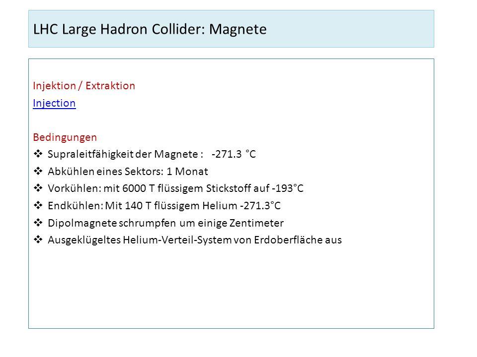 LHC Large Hadron Collider: Dipolmagnete Magnete für ringförmige Bewegung 1232 Dipolmagnete Länge Dipolmagnet: 14.3 m Gewicht Dipolmagnet: 30 Tonnen Preis Dipolmagnet: 700000 Magnetfeld: 8.3 Tesla Maximale Stromstärke 12000 Ampere Gefahren und Sicherheiten Wenn etwas schief geht beim Kühlen: Supraleitung Magnete kaputt Energie in Dipolen muss unbedingt korrekt dissipieren Durch Detektion von Spannungs-Inkonsistenzen Sicherheitssystem Im Ernstfall: sofortiges Freilassen dieser Energien < 1 s.