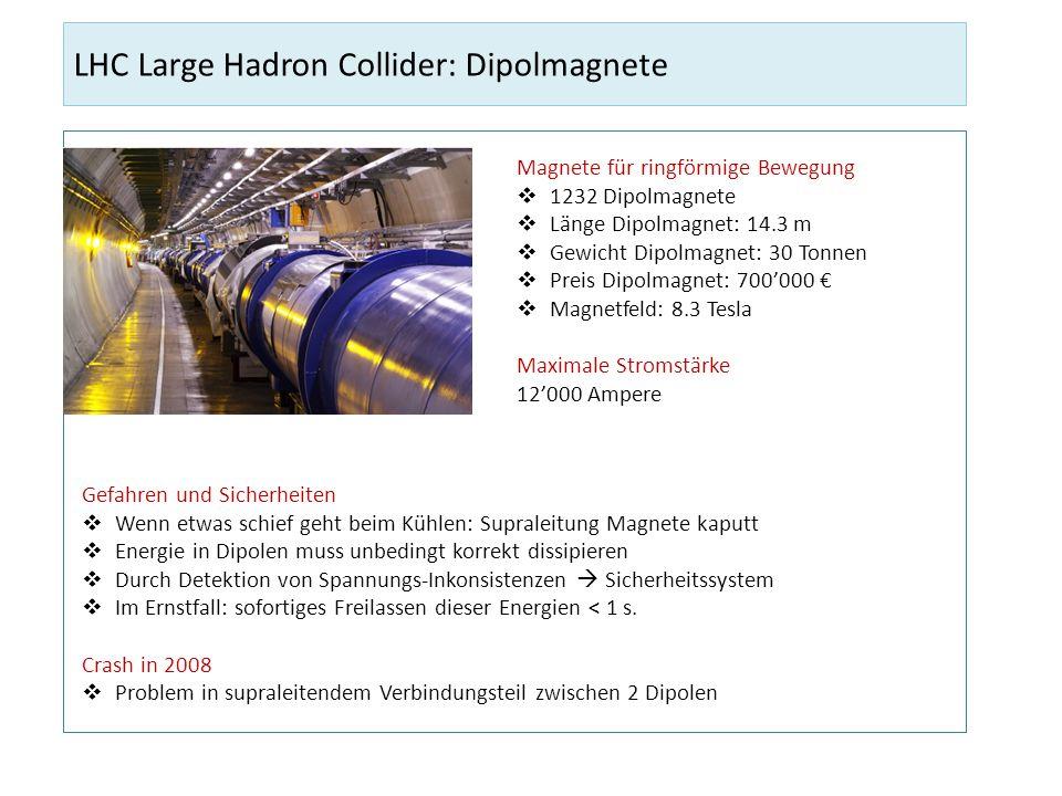 LHC Large Hadron Collider: Dipolmagnete Magnete für ringförmige Bewegung 1232 Dipolmagnete Länge Dipolmagnet: 14.3 m Gewicht Dipolmagnet: 30 Tonnen Pr