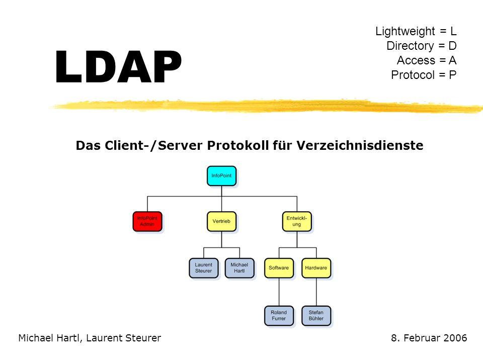 LDAP Michael Hartl, Laurent Steurer Das Client-/Server Protokoll für Verzeichnisdienste Lightweight = L Directory = D Access = A Protocol = P 8. Febru