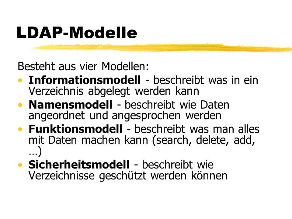 LDAP-Modelle Besteht aus vier Modellen: Informationsmodell - beschreibt was in ein Verzeichnis abgelegt werden kann Namensmodell - beschreibt wie Date
