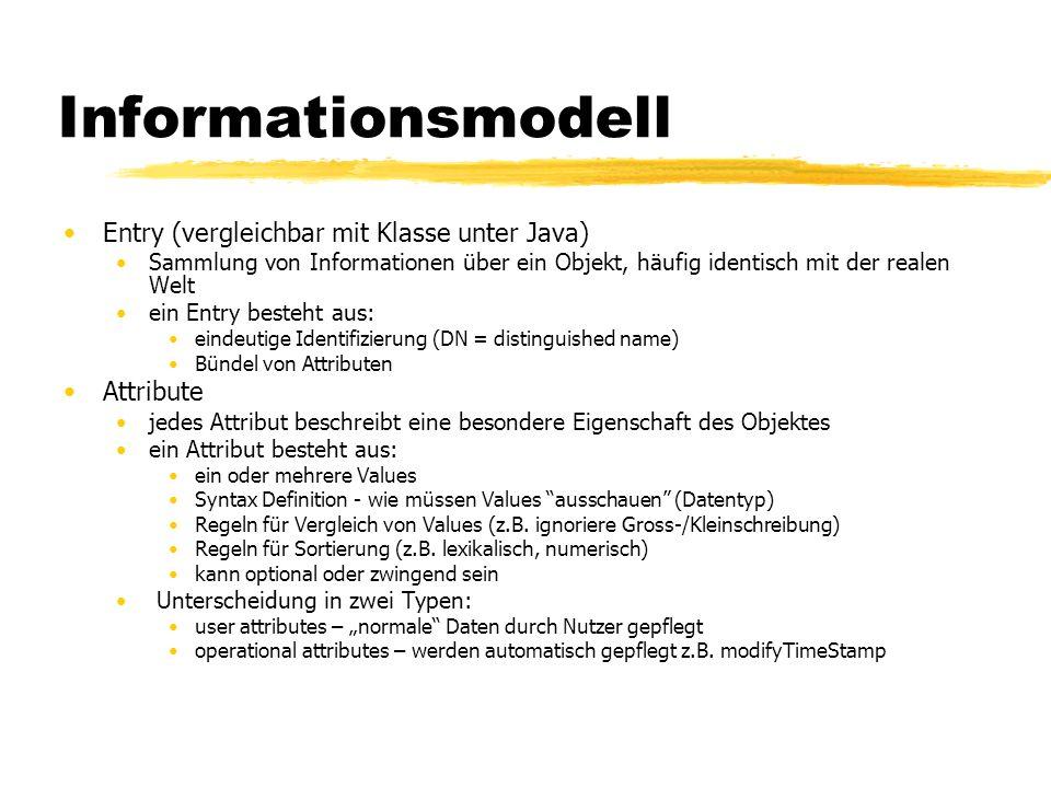 Informationsmodell Entry (vergleichbar mit Klasse unter Java) Sammlung von Informationen über ein Objekt, häufig identisch mit der realen Welt ein Ent