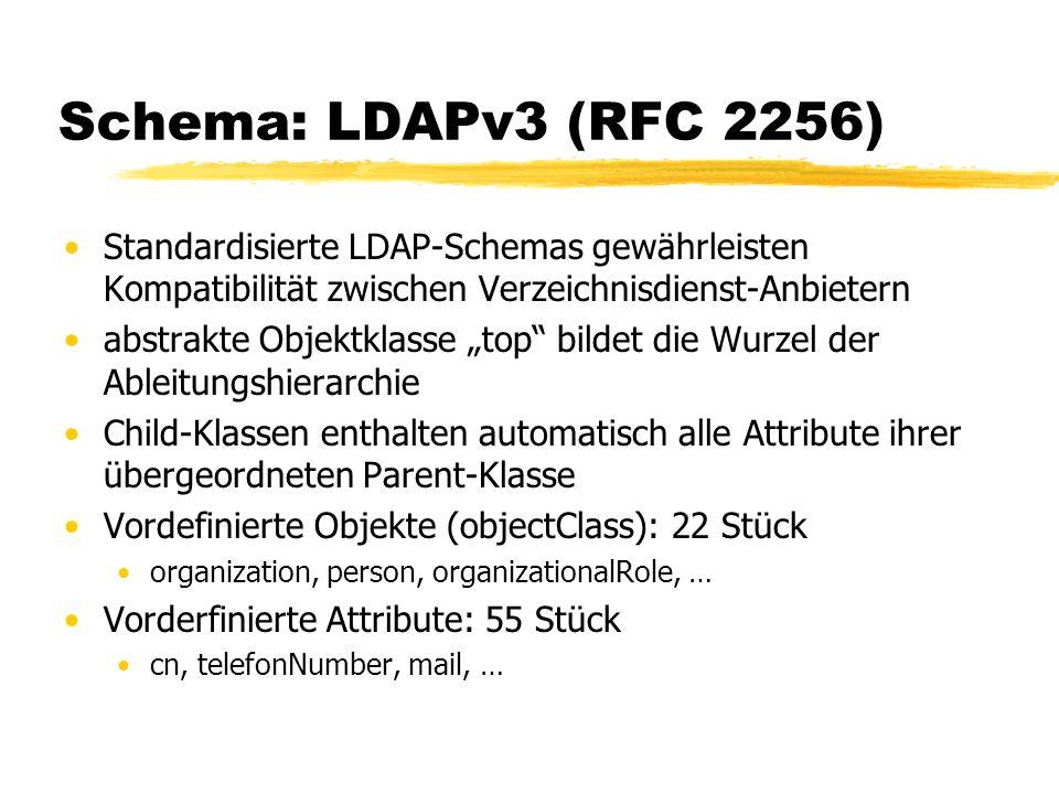 Schema: LDAPv3 (RFC 2256) Standardisierte LDAP-Schemas gewährleisten Kompatibilität zwischen Verzeichnisdienst-Anbietern abstrakte Objektklasse top bi